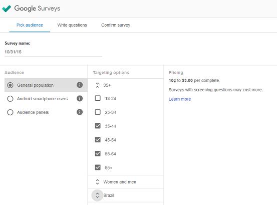 Google Consumer Surveys setup